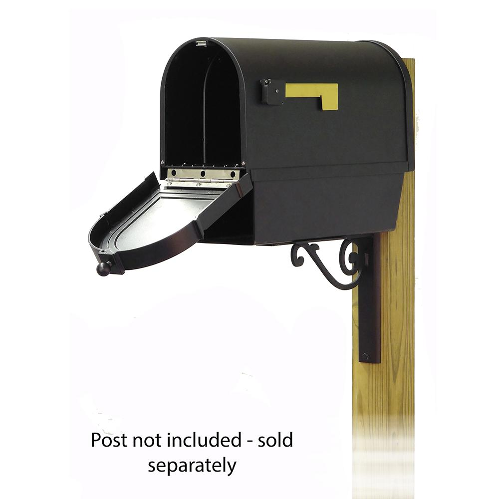 Berkshire Curbside Mailbox with Newspaper tube and Baldwin front single mailbox mounting bracket. Picture 2