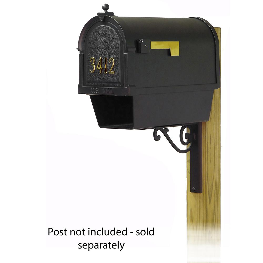 Berkshire Curbside Mailbox with Front Address Numbers, Newspaper tube and Baldwin front single mailbox mounting bracket. Picture 1