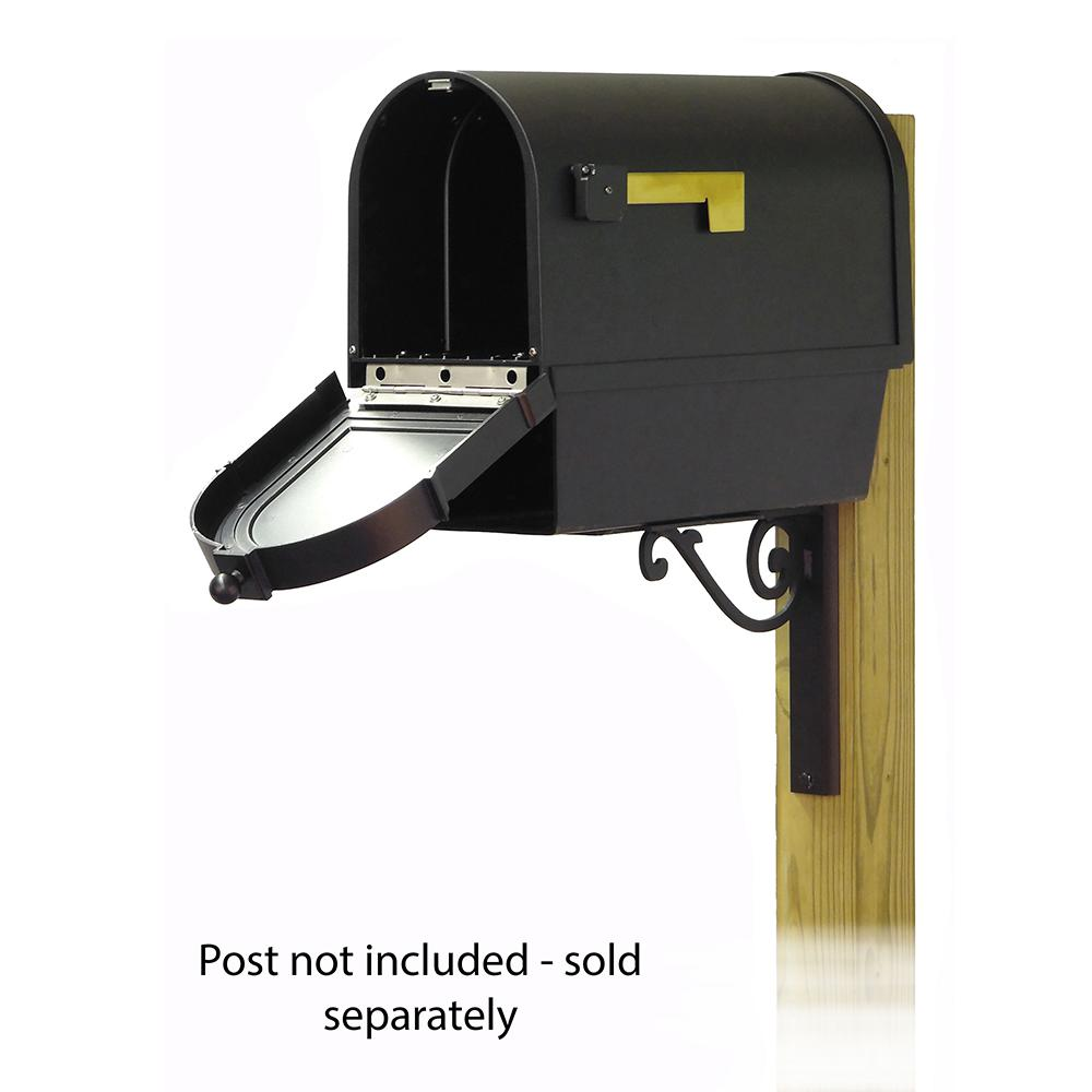 Berkshire Curbside Mailbox with Front Address Numbers, Newspaper tube and Baldwin front single mailbox mounting bracket. Picture 2