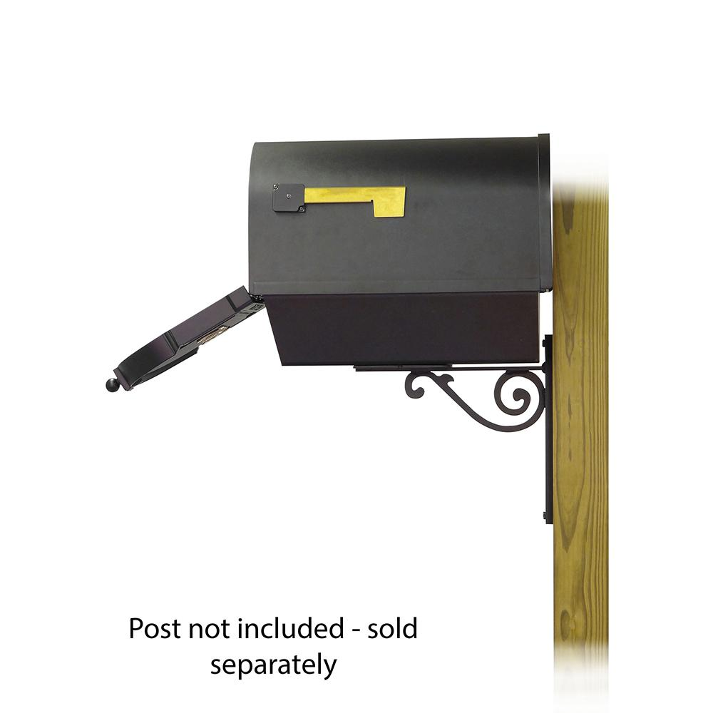 Berkshire Curbside Mailbox with Front Address Numbers, Newspaper tube and Baldwin front single mailbox mounting bracket. Picture 4