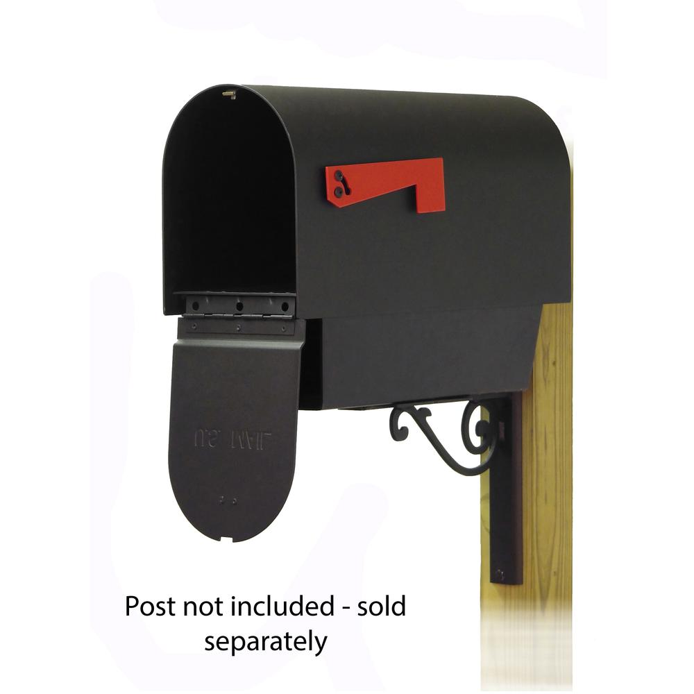 Titan Steel Curbside Mailbox with Newspaper tube and Baldwin front single mailbox mounting bracket. Picture 2