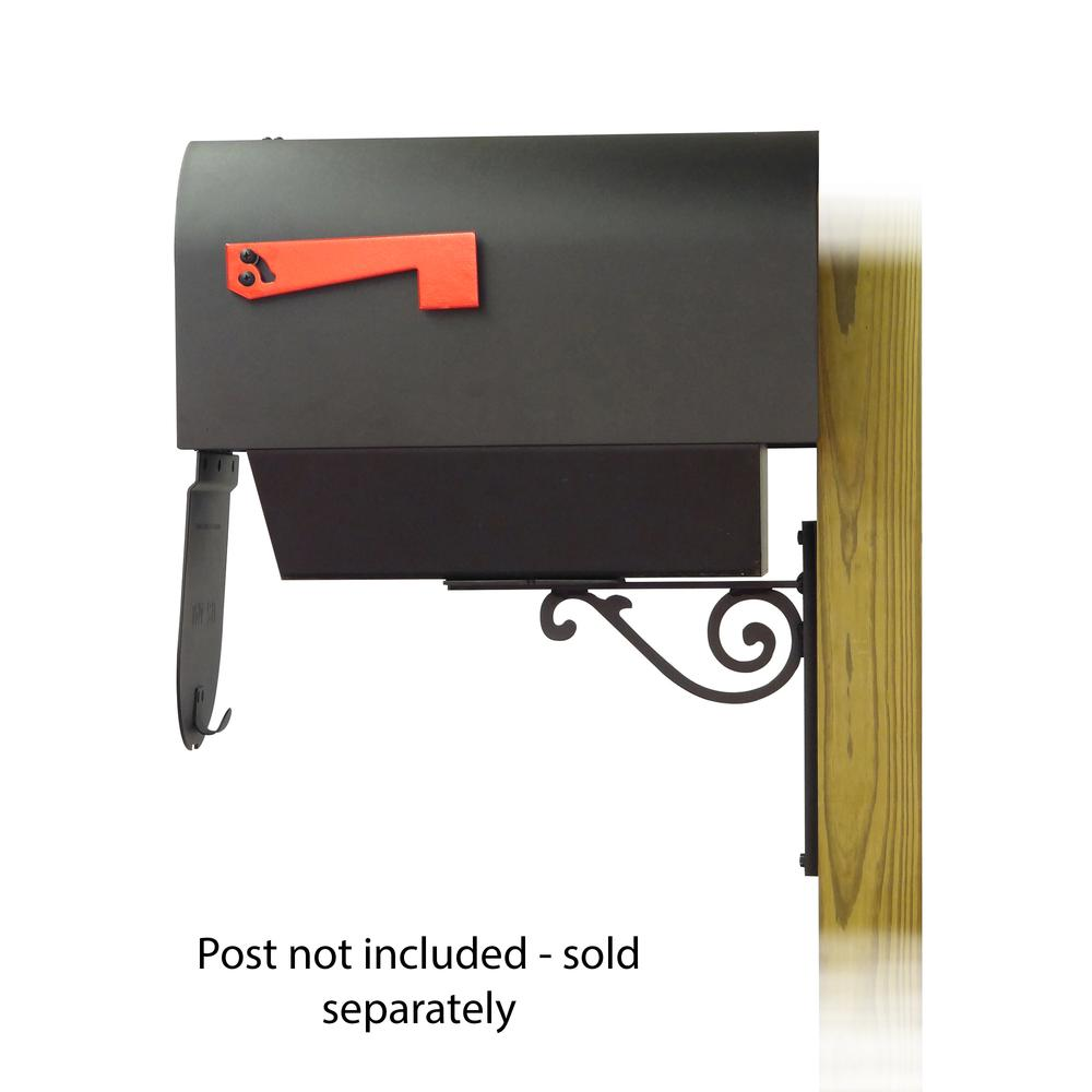 Titan Steel Curbside Mailbox with Newspaper tube and Baldwin front single mailbox mounting bracket. Picture 4