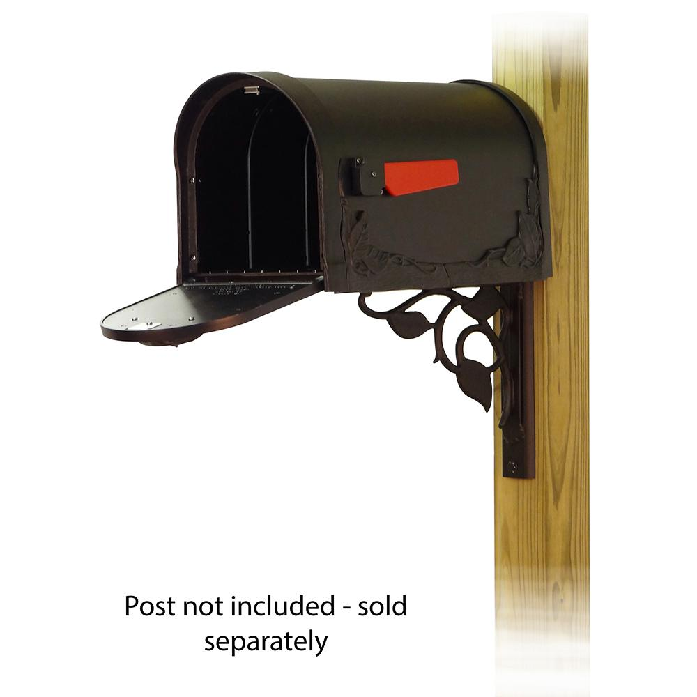 Floral Curbside Mailbox with Floral front single mailbox mounting bracket. Picture 2