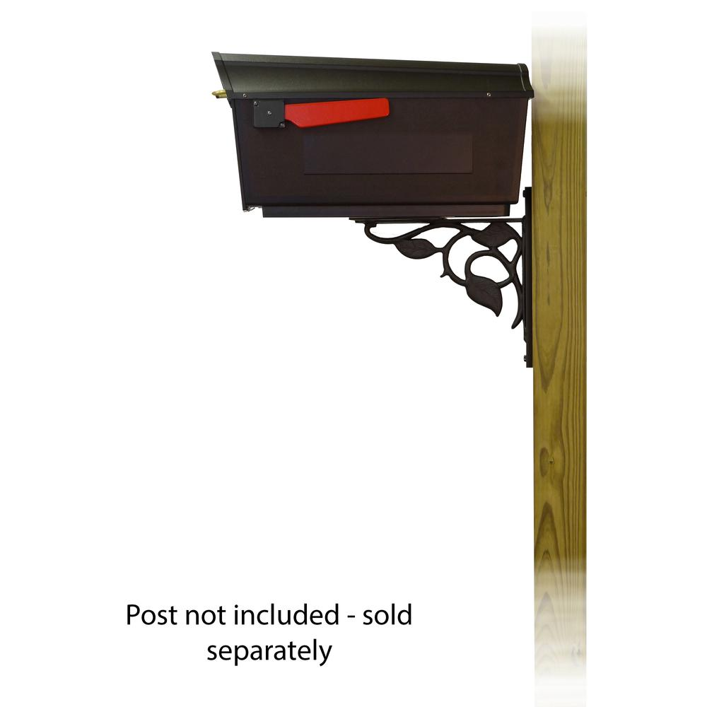 Town Square Curbside Mailbox with Floral front single mailbox mounting bracket. Picture 3