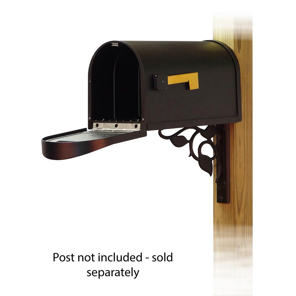 Classic Curbside Mailbox with Floral front single mailbox mounting bracket. Picture 2