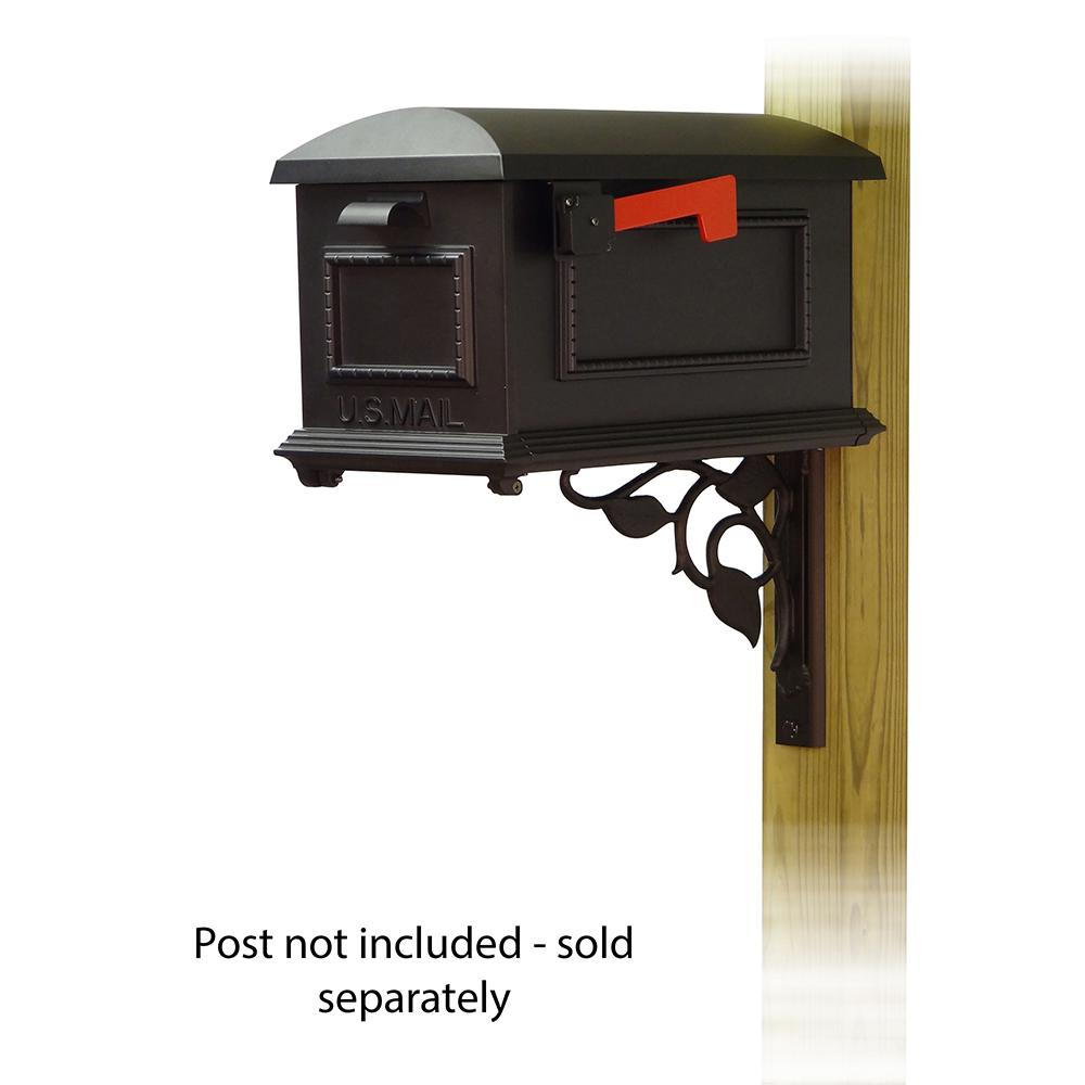 Traditional Curbside Mailbox with Floral front single mailbox mounting bracket. Picture 1