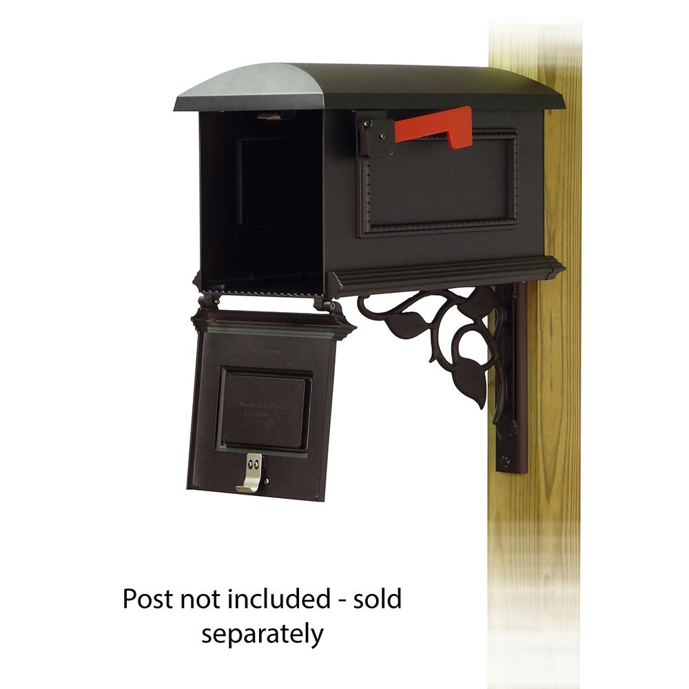 Traditional Curbside Mailbox with Floral front single mailbox mounting bracket. Picture 2