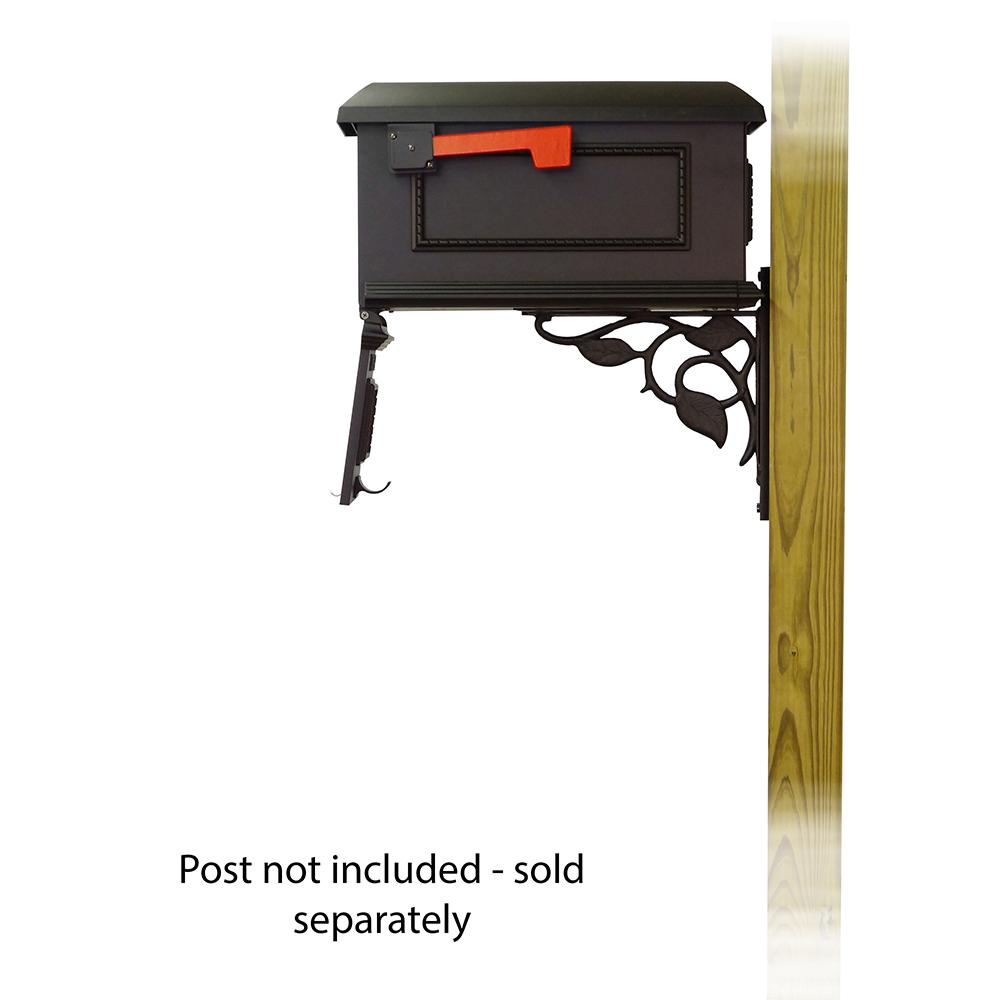 Traditional Curbside Mailbox with Floral front single mailbox mounting bracket. Picture 4