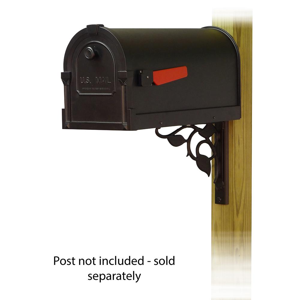 Savannah Curbside Mailbox with Floral front single mailbox mounting bracket. Picture 1