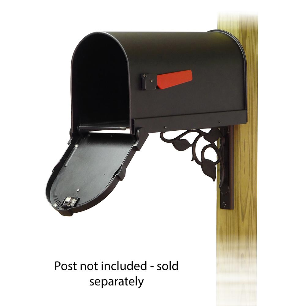 Savannah Curbside Mailbox with Floral front single mailbox mounting bracket. Picture 2