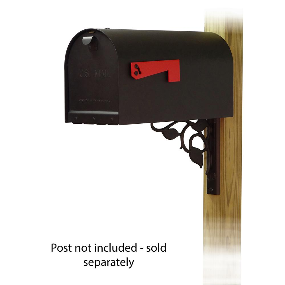 Titan Aluminum Curbside Mailbox with Floral front single mailbox mounting bracket. Picture 1