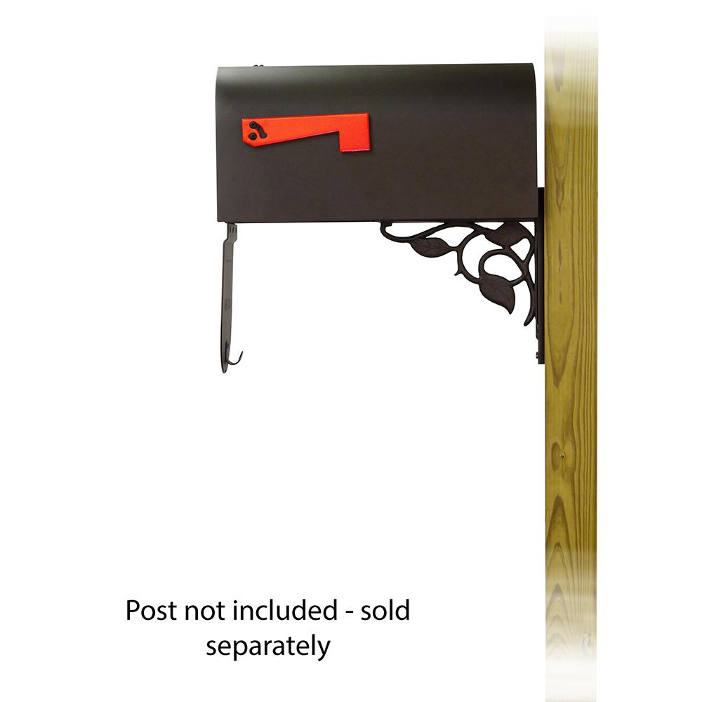 Titan Aluminum Curbside Mailbox with Floral front single mailbox mounting bracket. Picture 4