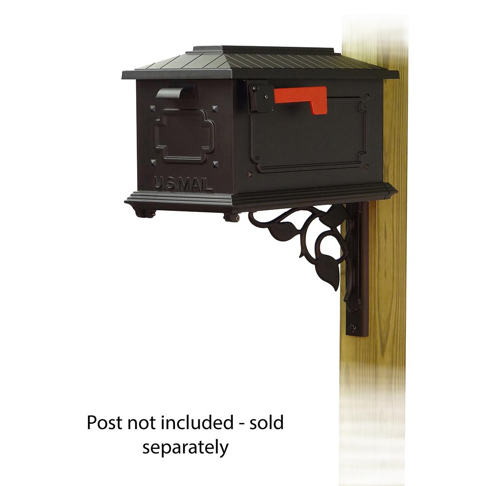 Kingston Curbside Mailbox with Floral front single mailbox mounting bracket. Picture 1