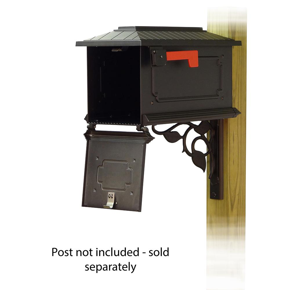 Kingston Curbside Mailbox with Floral front single mailbox mounting bracket. Picture 2