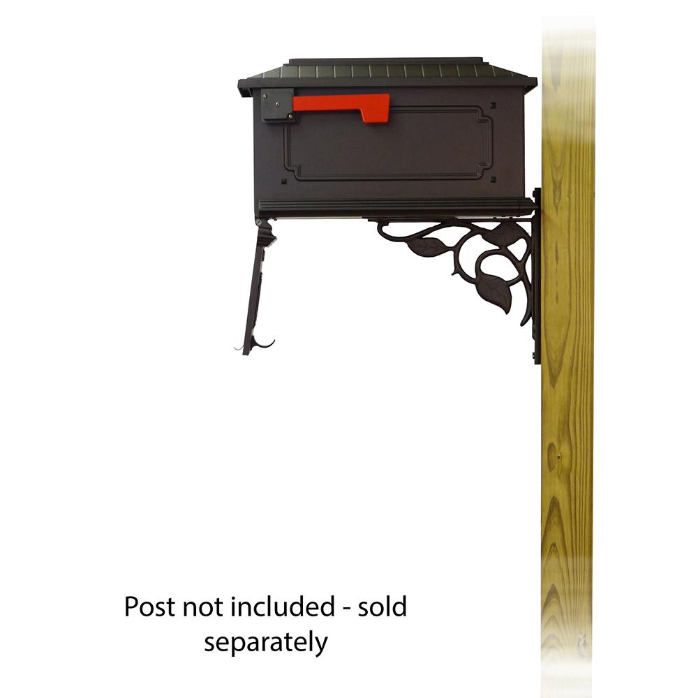 Kingston Curbside Mailbox with Floral front single mailbox mounting bracket. Picture 4