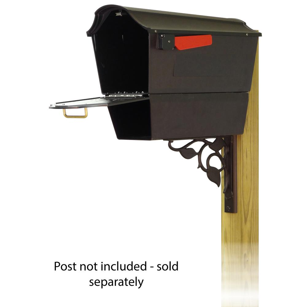 Town Square Curbside Mailbox with Newspaper tube and Floral front single mailbox mounting bracket. Picture 2