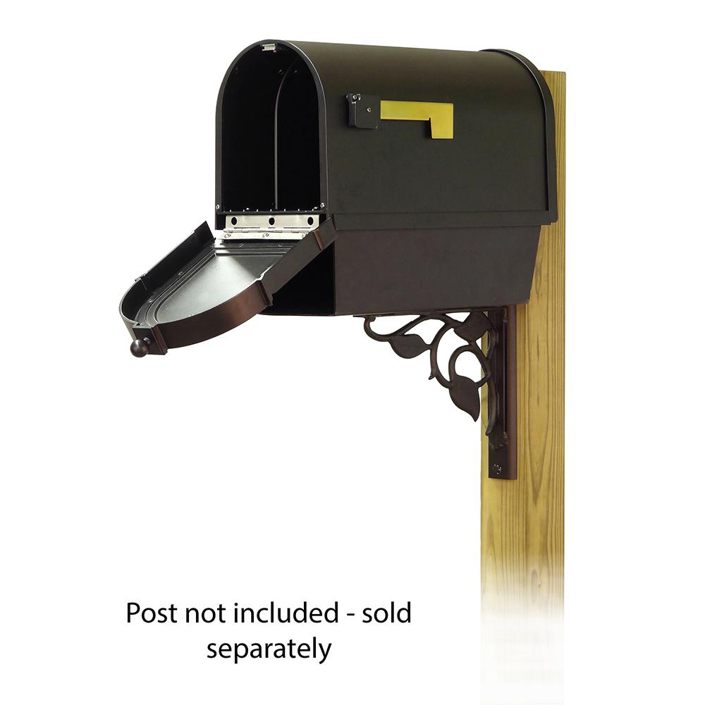 Berkshire Curbside Mailbox with Front Address Numbers, Newspaper tube and Floral front single mailbox mounting bracket. Picture 2