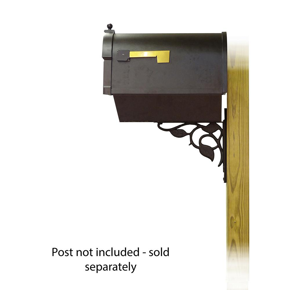 Berkshire Curbside Mailbox with Front Address Numbers, Newspaper tube and Floral front single mailbox mounting bracket. Picture 3