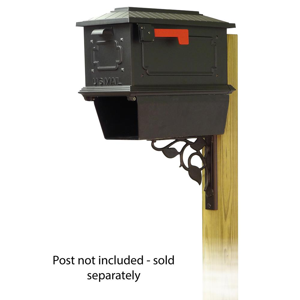 Kingston Curbside Mailbox with Newspaper tube and Floral front single mailbox mounting bracket. Picture 1