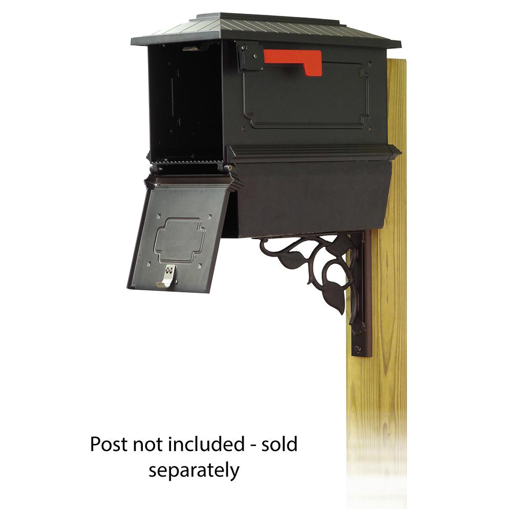 Kingston Curbside Mailbox with Newspaper tube and Floral front single mailbox mounting bracket. Picture 2