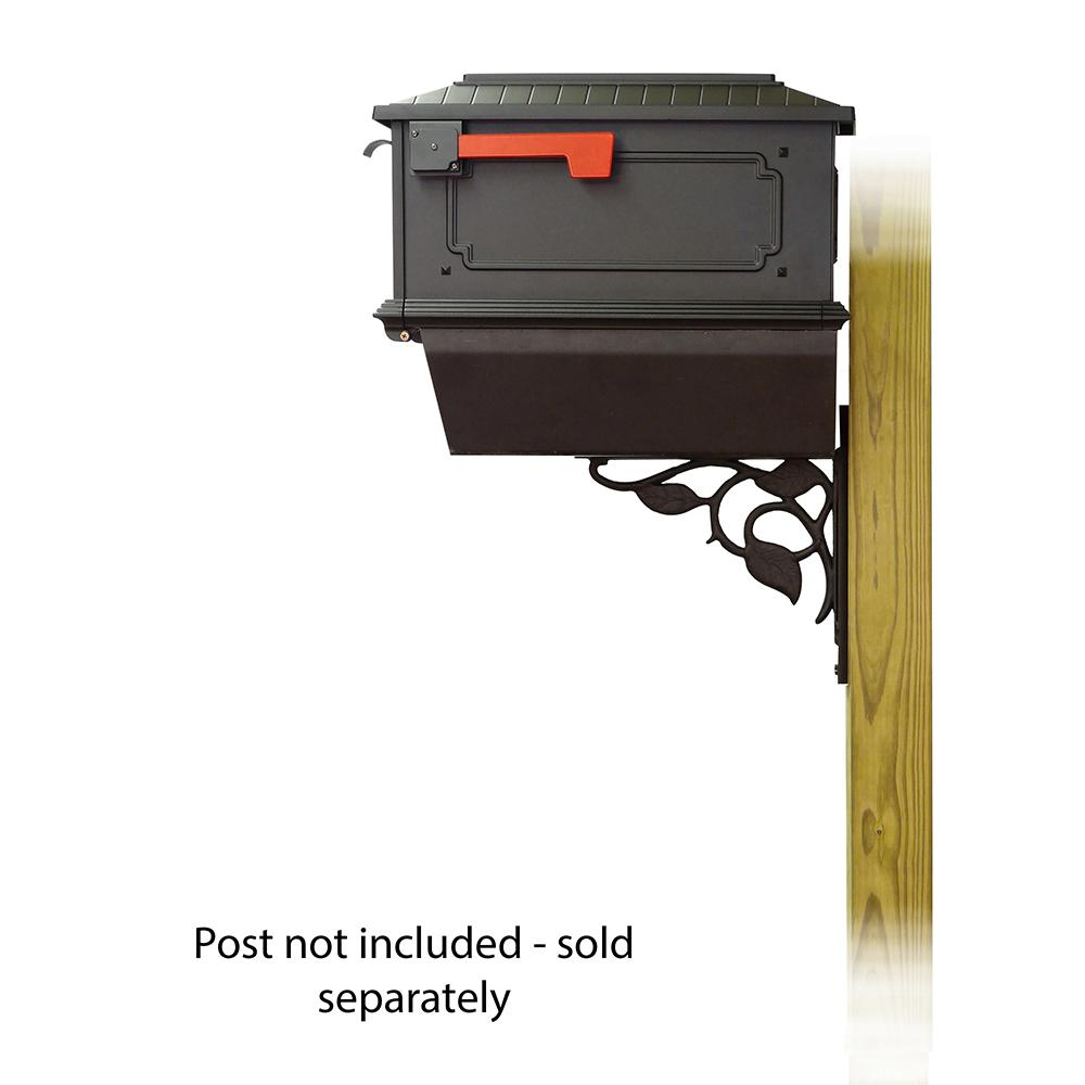 Kingston Curbside Mailbox with Newspaper tube and Floral front single mailbox mounting bracket. Picture 3