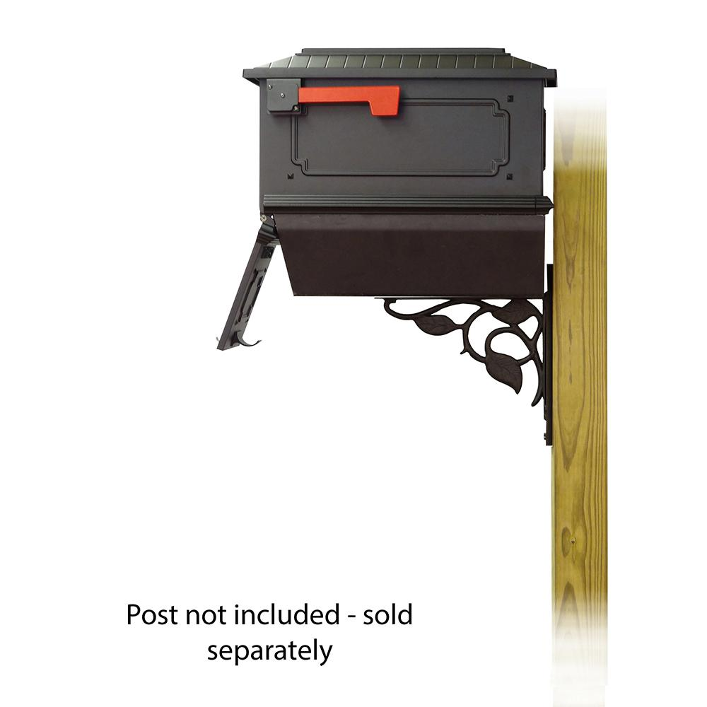 Kingston Curbside Mailbox with Newspaper tube and Floral front single mailbox mounting bracket. Picture 4