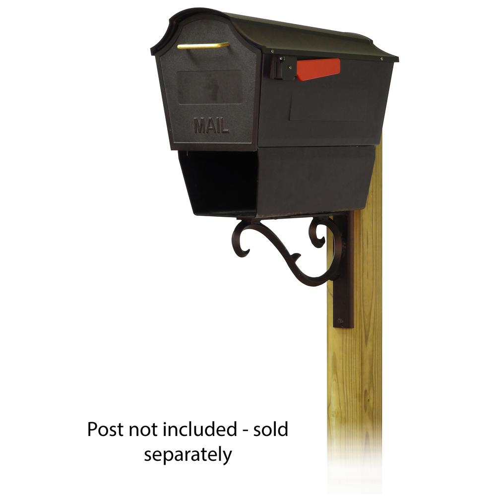Town Square Curbside Mailbox with Newspaper tube and Sorrento front single mailbox mounting bracket. Picture 1