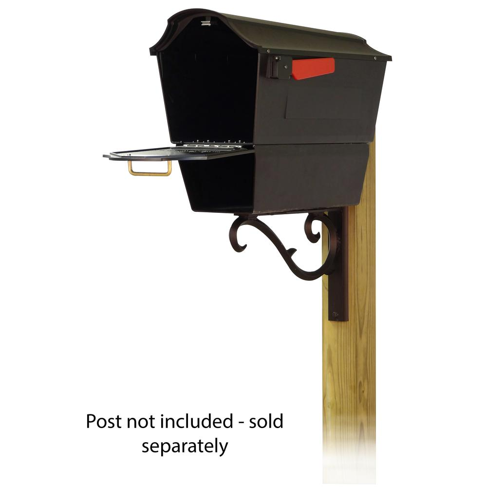 Town Square Curbside Mailbox with Newspaper tube and Sorrento front single mailbox mounting bracket. Picture 2