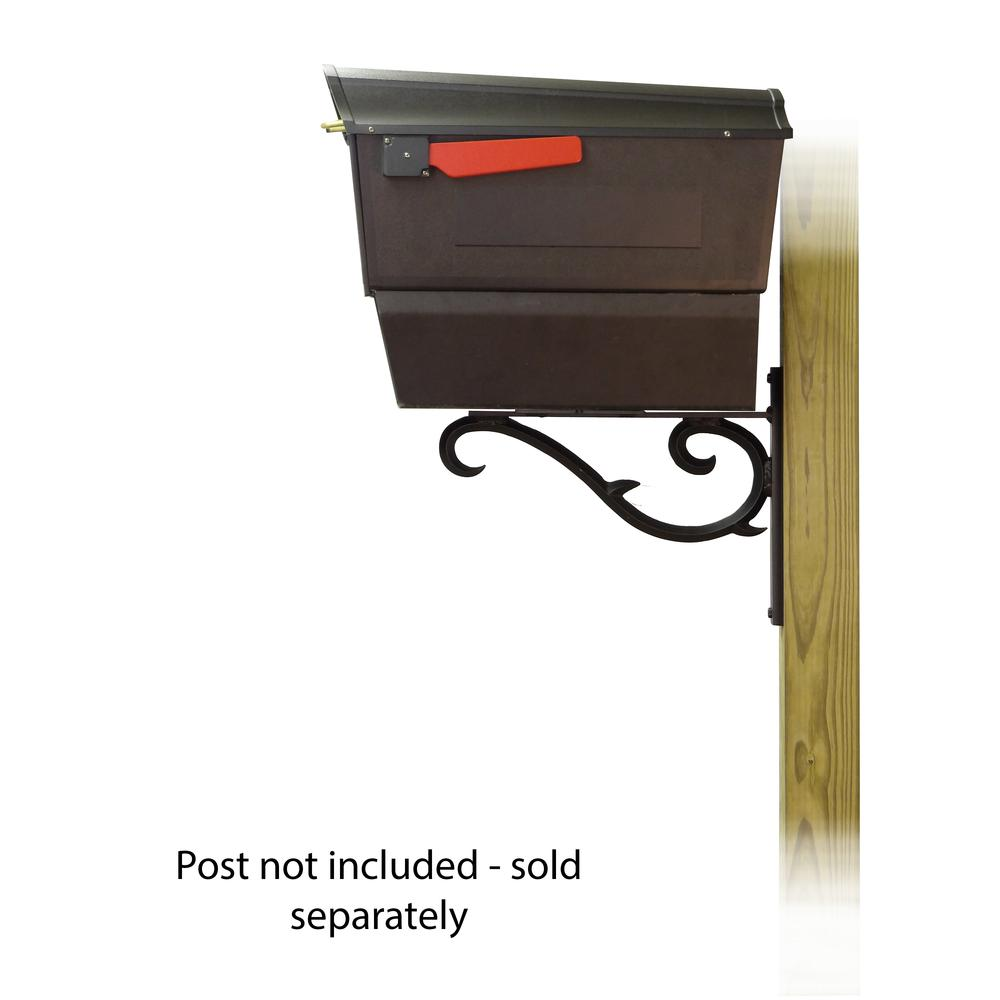 Town Square Curbside Mailbox with Newspaper tube and Sorrento front single mailbox mounting bracket. Picture 3