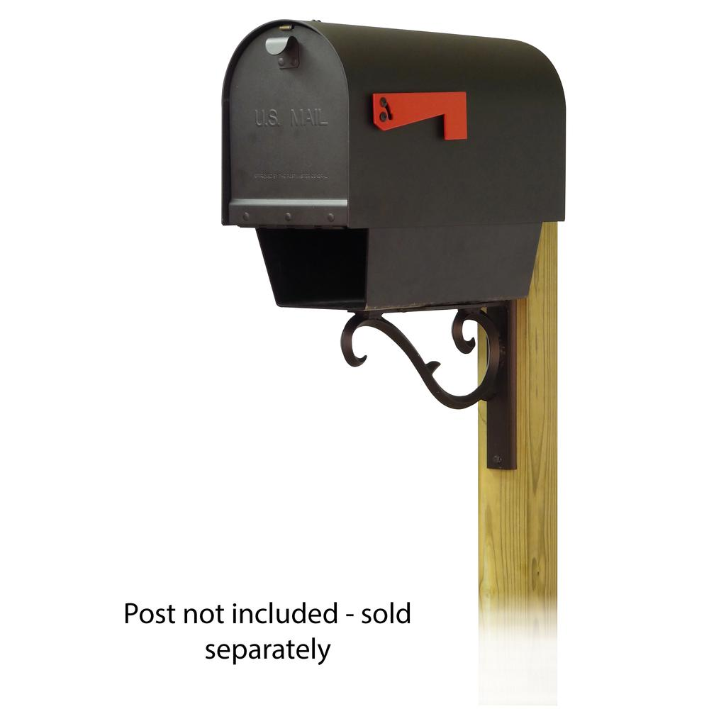 Titan Steel Curbside Mailbox with Newspaper tube and Sorrento front single mailbox mounting bracket. Picture 1