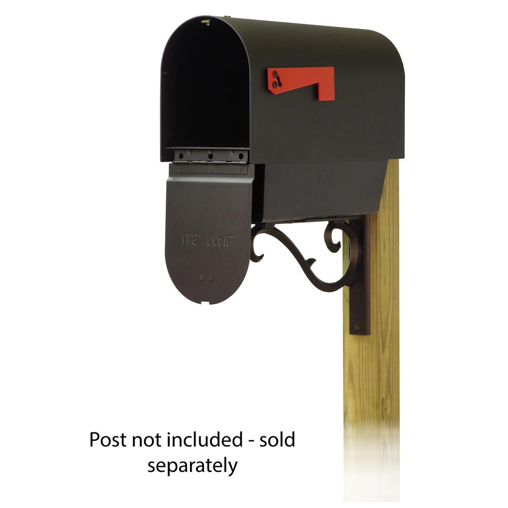 Titan Steel Curbside Mailbox with Newspaper tube and Sorrento front single mailbox mounting bracket. Picture 2