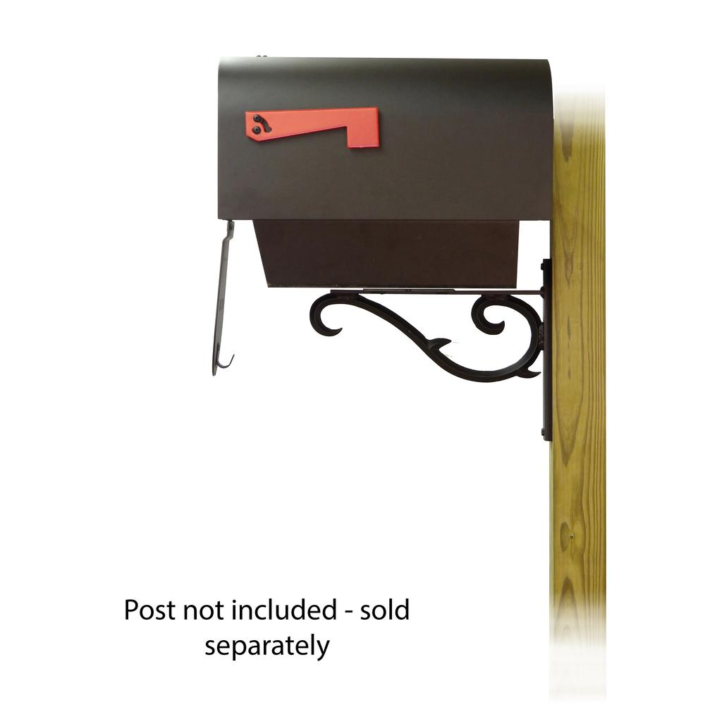 Titan Steel Curbside Mailbox with Newspaper tube and Sorrento front single mailbox mounting bracket. Picture 4