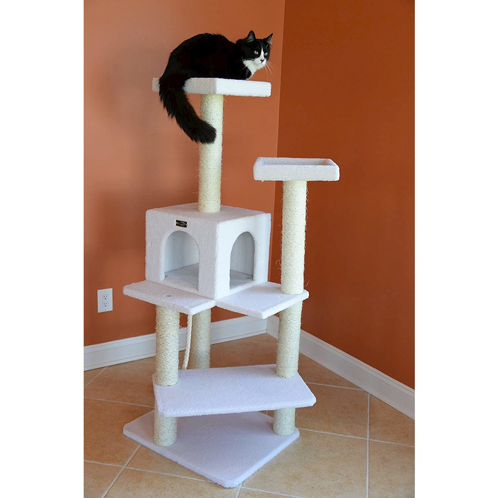 Armarkat Model B5701 57-Inch Classic Cat Tree in Ivory, Jackson Galaxy Approved, Four Levels with Two Perches and Two-Door Condo. Picture 8