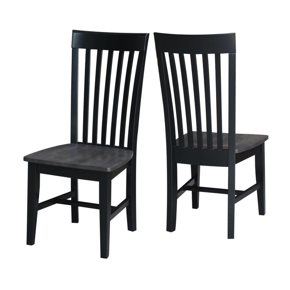 Set of Two Cosmo Tall Mission Chairs, Coal-Black/washed black. Picture 1