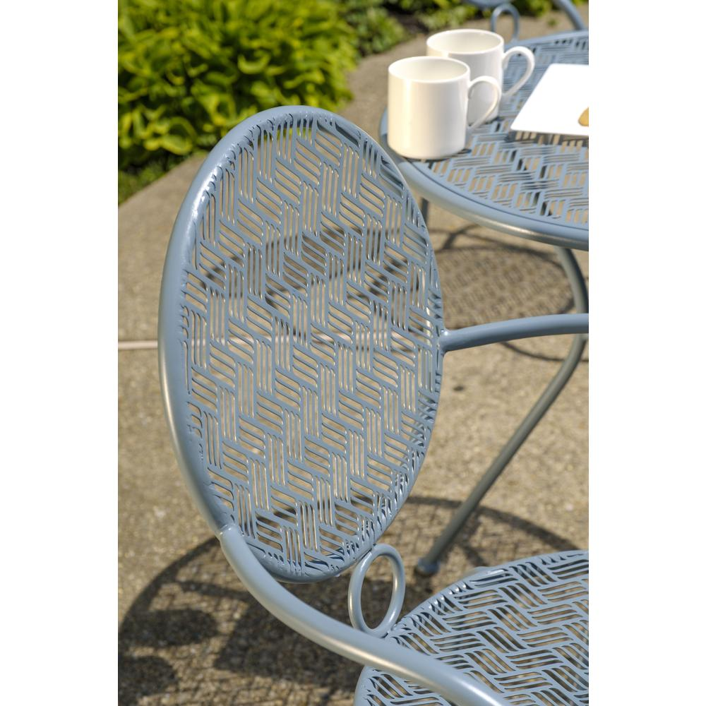 "Martini 3 Piece Bistro Set in Cadet Blue Finish with 27.5"" Round Bistro Table and 2 Stackable Bistro Chairs. Picture 2"