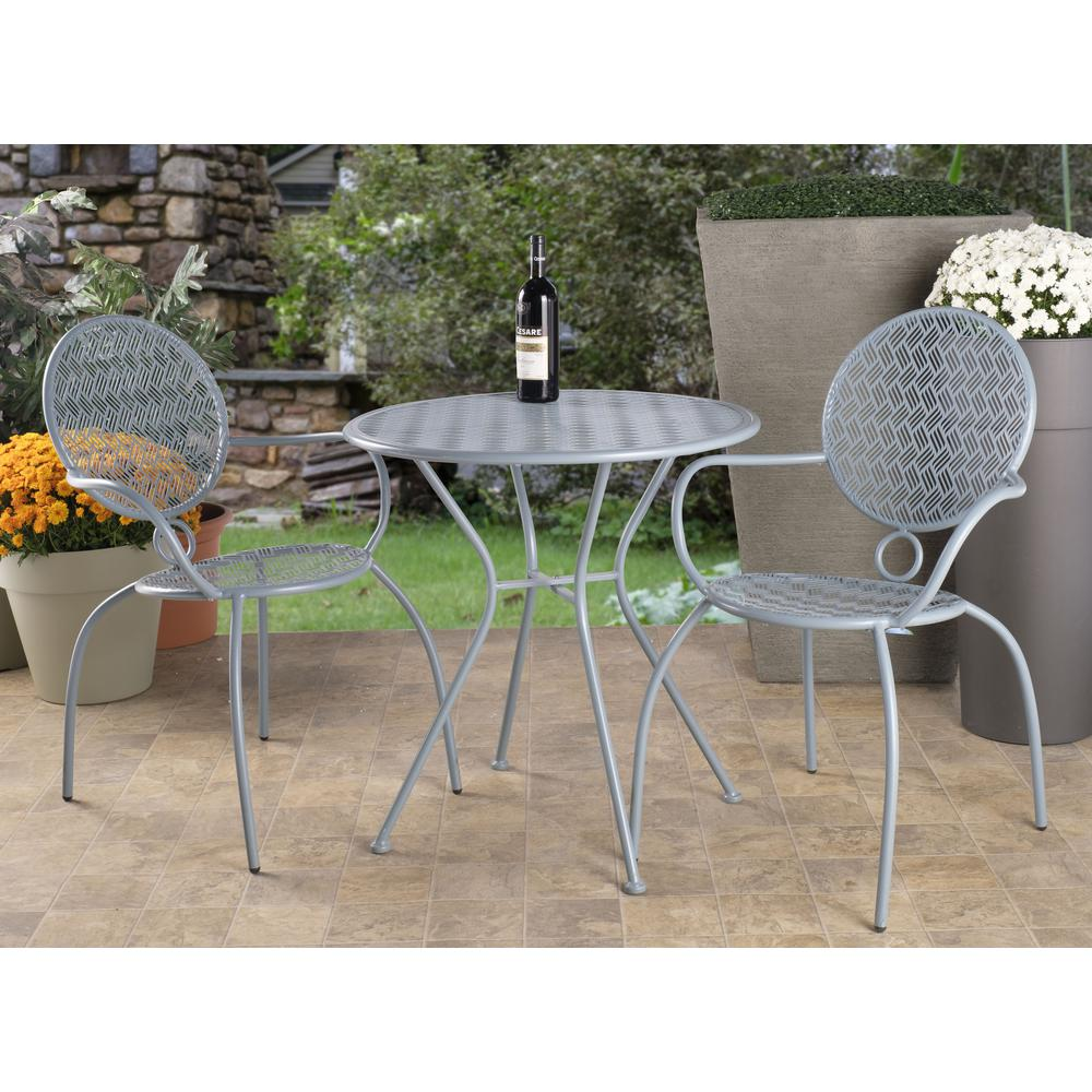 "Martini 3 Piece Bistro Set in Cadet Blue Finish with 27.5"" Round Bistro Table and 2 Stackable Bistro Chairs. Picture 12"