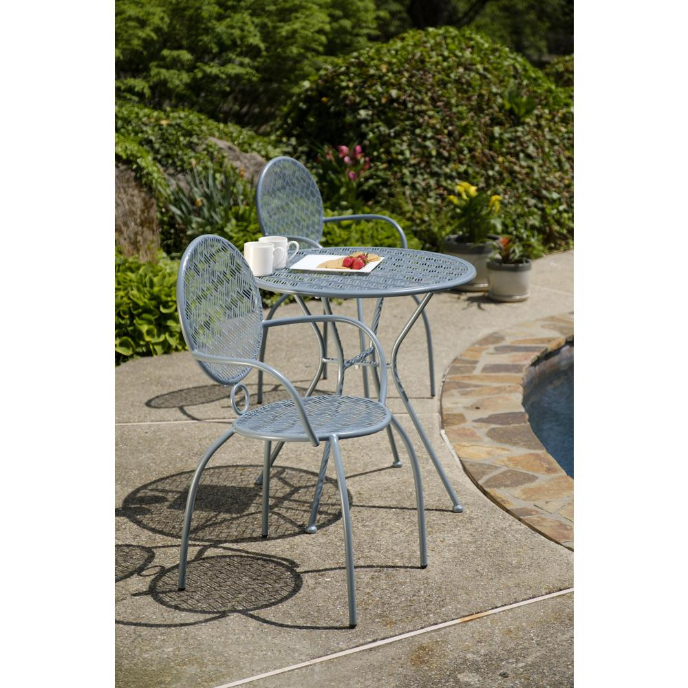 "Martini 3 Piece Bistro Set in Cadet Blue Finish with 27.5"" Round Bistro Table and 2 Stackable Bistro Chairs. Picture 10"