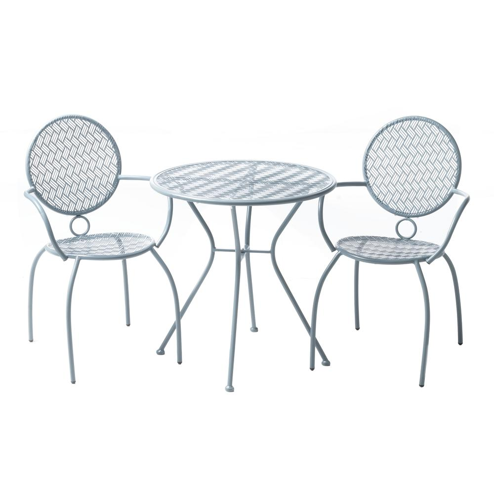 "Martini 3 Piece Bistro Set in Cadet Blue Finish with 27.5"" Round Bistro Table and 2 Stackable Bistro Chairs. Picture 11"