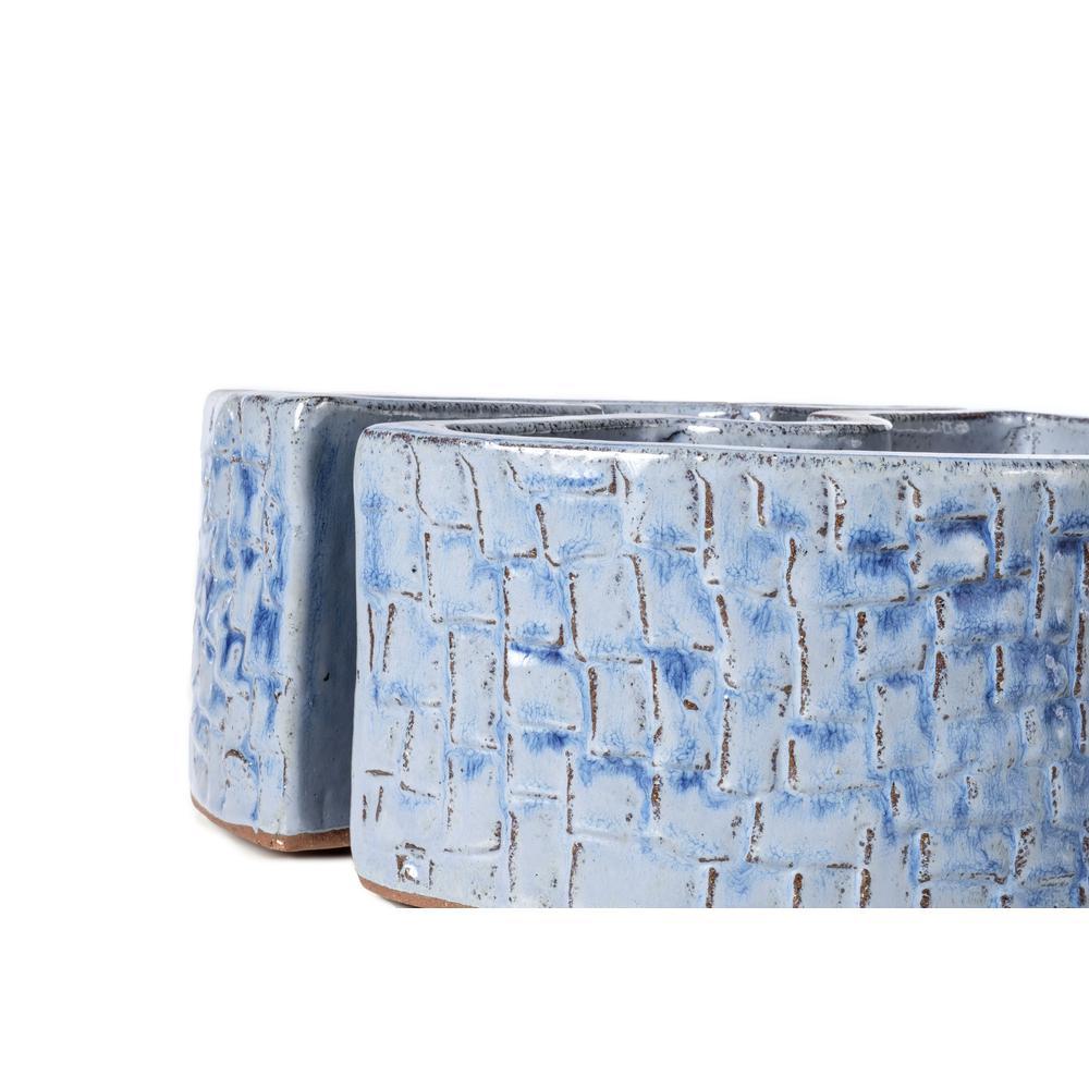 Cobblestone Umbrella Planter - Cielo Blue. Picture 2