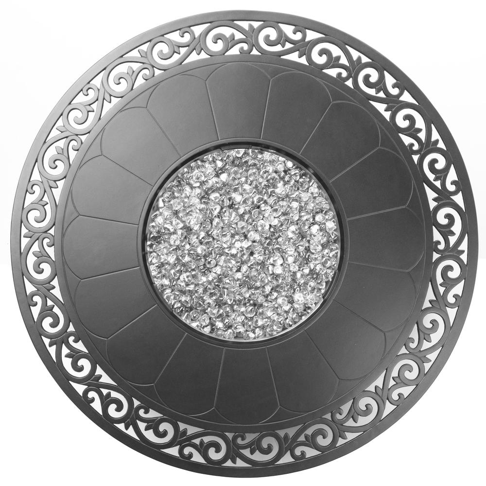 "Bellagio 48"" Round Cast Aluminum Gas Fire Pit/Chat Table with Glacier Ice Firebeads. Picture 4"