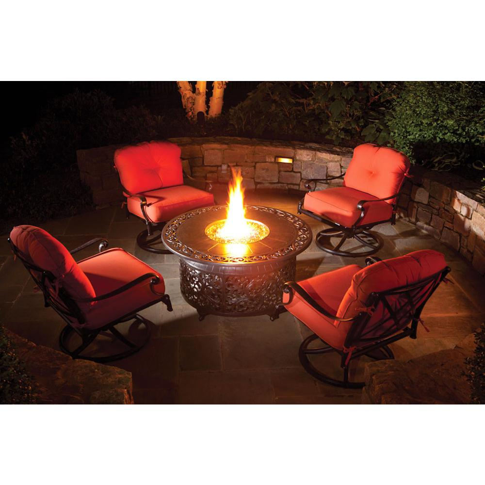 "Bellagio 48"" Round Cast Aluminum Gas Fire Pit/Chat Table with Glacier Ice Firebeads. Picture 5"