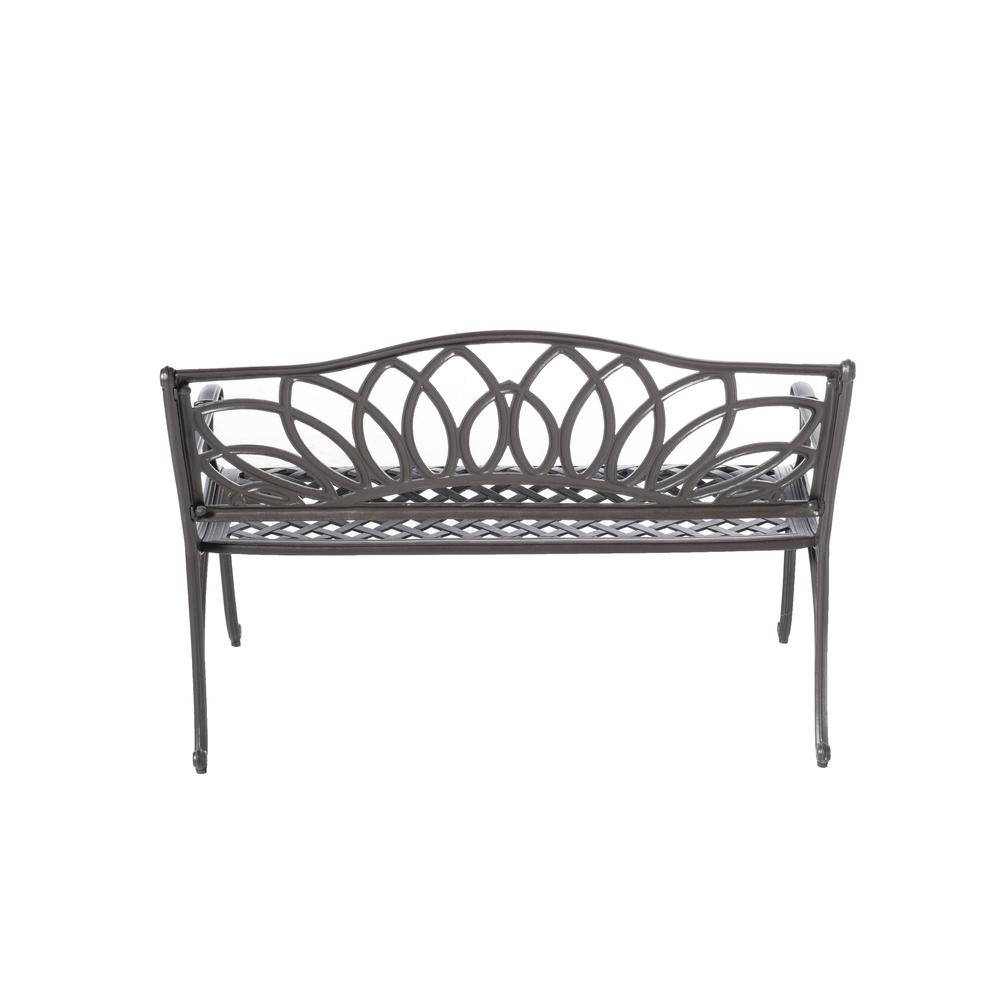 Daffodil Cast Aluminum Outdoor Bench, Blacksmith Finish. Picture 1