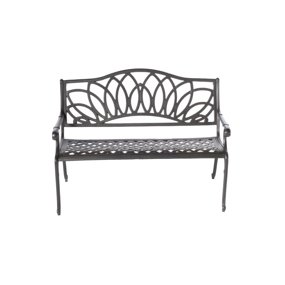 Daffodil Cast Aluminum Outdoor Bench, Blacksmith Finish. Picture 2