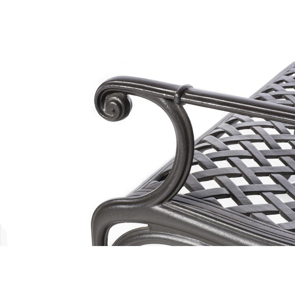 Daffodil Cast Aluminum Outdoor Bench, Blacksmith Finish. Picture 3