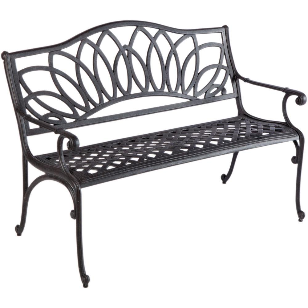 Daffodil Cast Aluminum Outdoor Bench, Blacksmith Finish. Picture 4