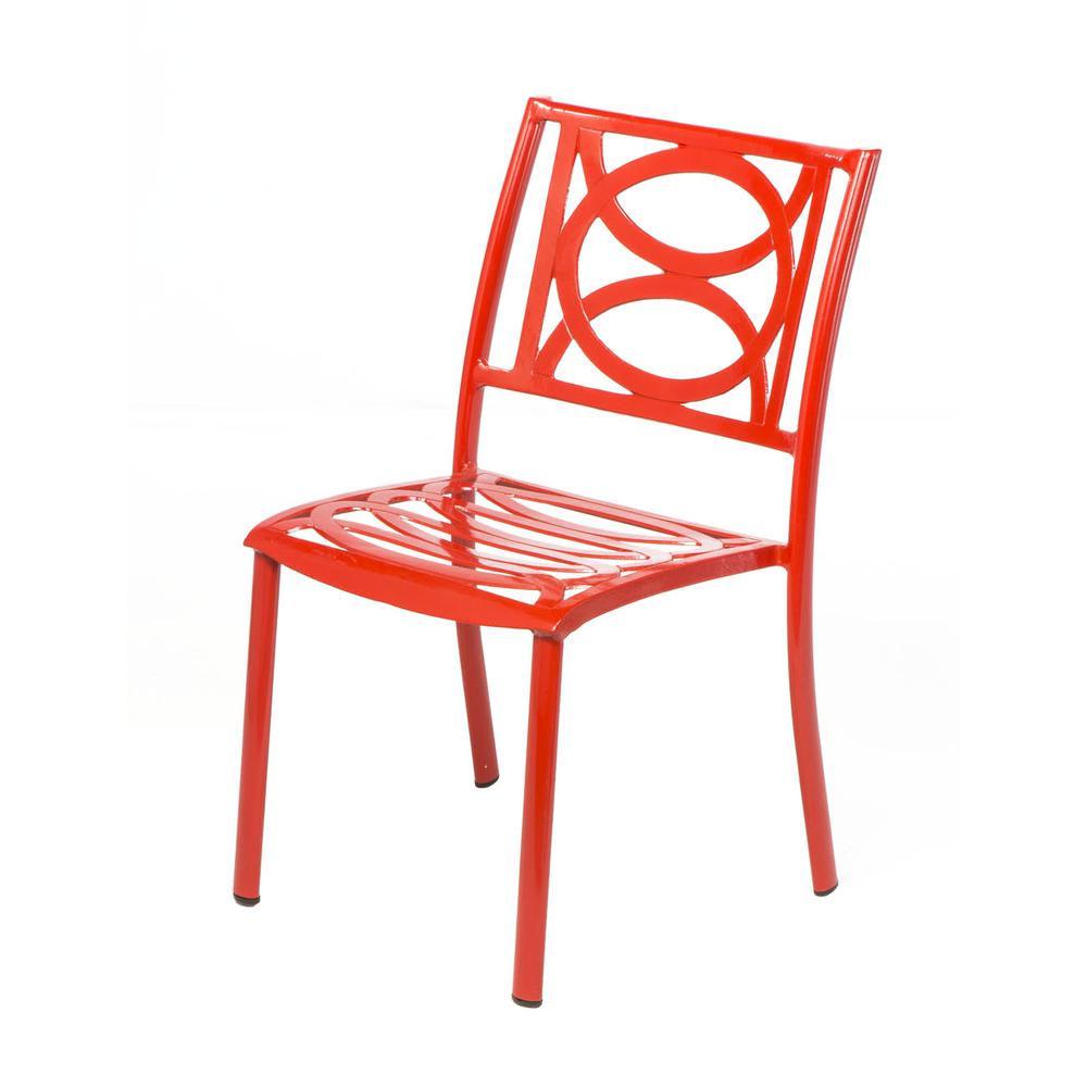 "Lasso Café Set with 31.5"" Sqaure Café Table with Umbrella Hole and 4 Stackable Café Chairs in Candy Red Finish. Picture 1"