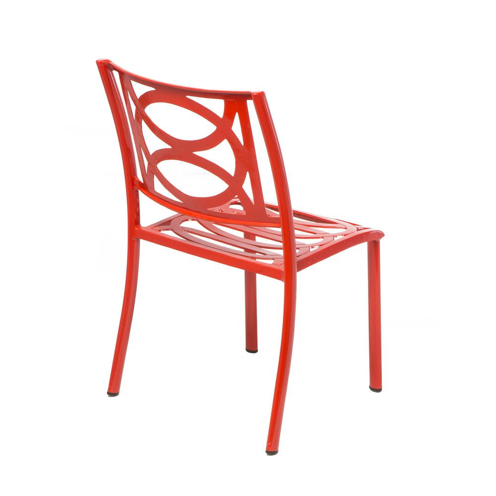 "Lasso Café Set with 31.5"" Sqaure Café Table with Umbrella Hole and 4 Stackable Café Chairs in Candy Red Finish. Picture 2"