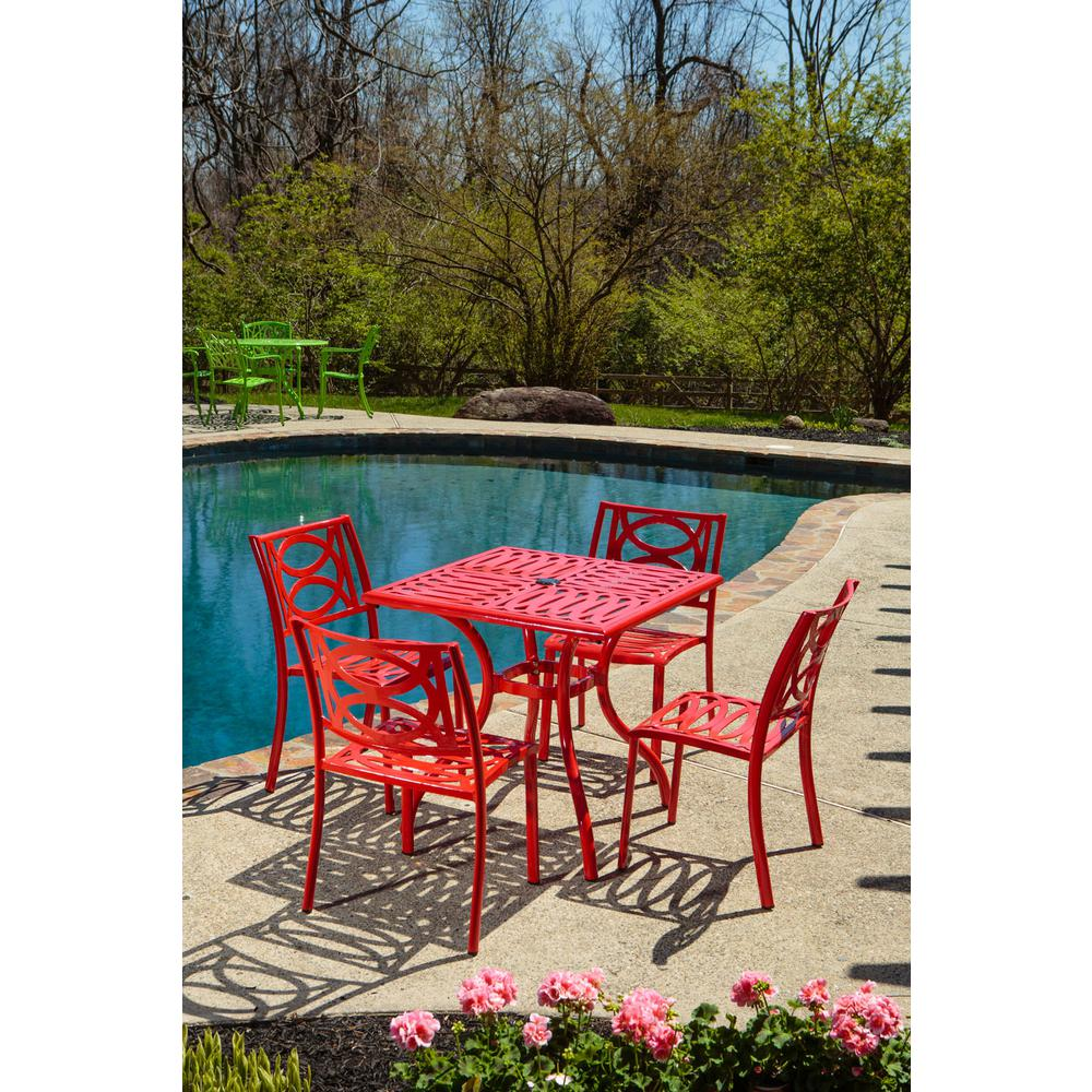 "Lasso Café Set with 31.5"" Sqaure Café Table with Umbrella Hole and 4 Stackable Café Chairs in Candy Red Finish. Picture 4"