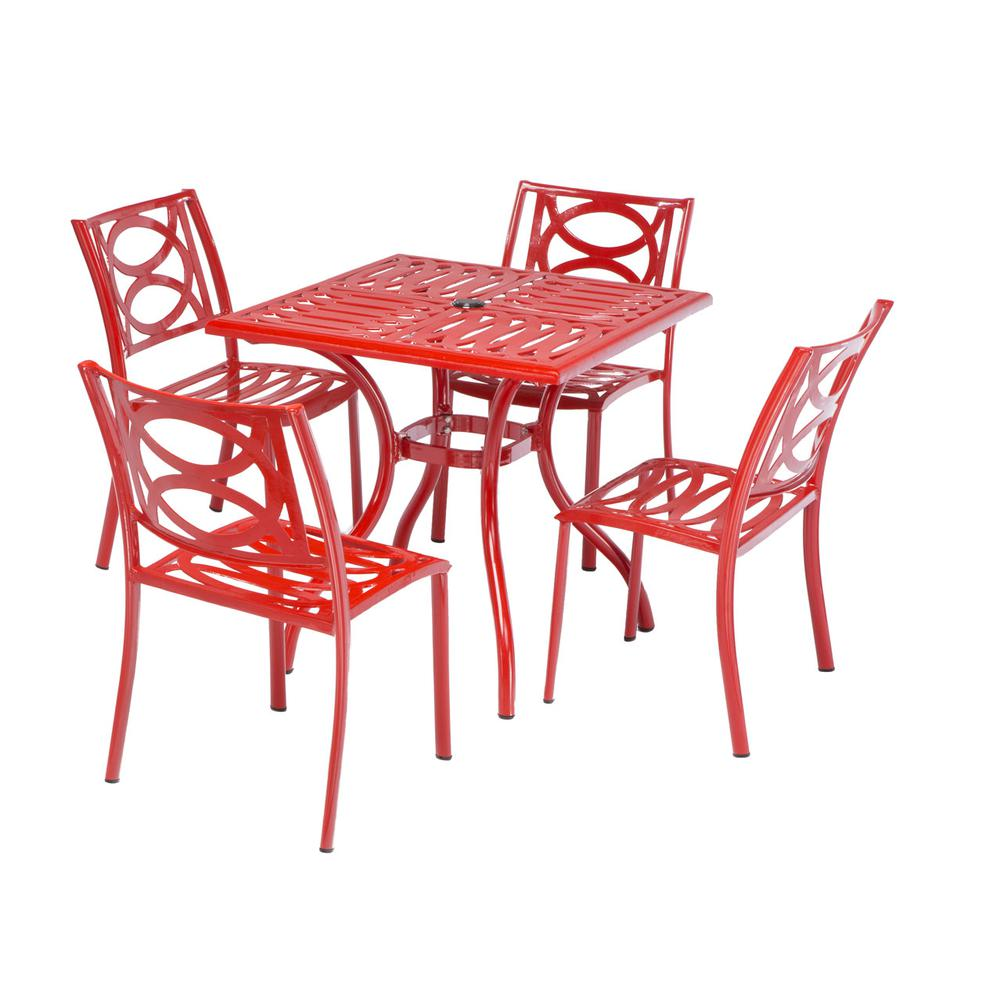 "Lasso Café Set with 31.5"" Sqaure Café Table with Umbrella Hole and 4 Stackable Café Chairs in Candy Red Finish. Picture 5"