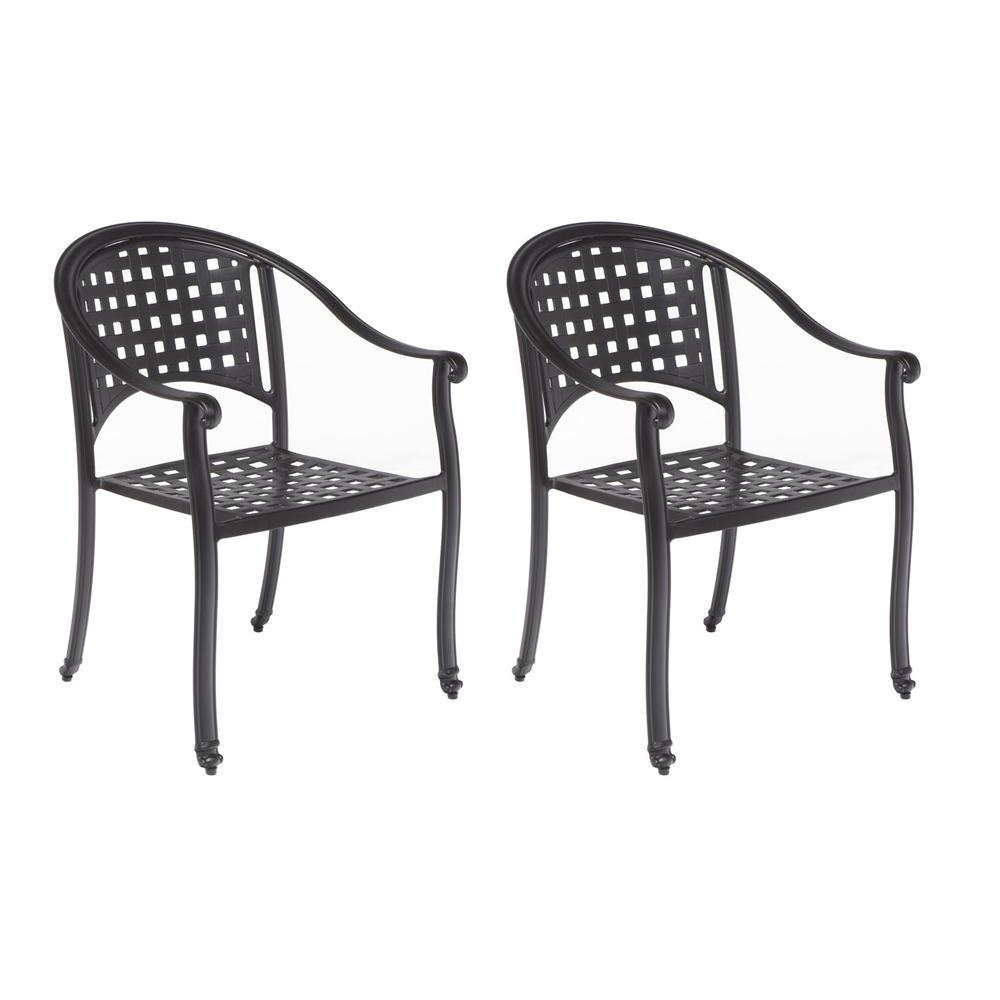 """Milano Café Set with 31.5"""" Square Café Table with Umbrella Hole and 4 Stackable Café Chairs in London Black Finish. Picture 1"""
